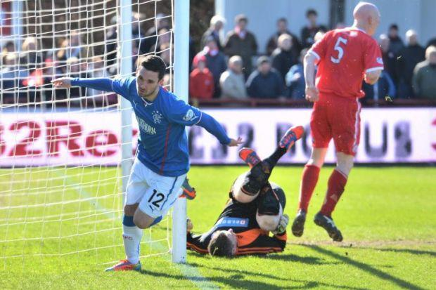 Nicky Clark celebrates after scoring Rangers' winning goal in their 2-1 victory against Brechin City yesterday