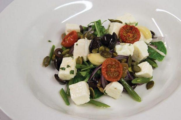 Fetta, green beans and almond salad
