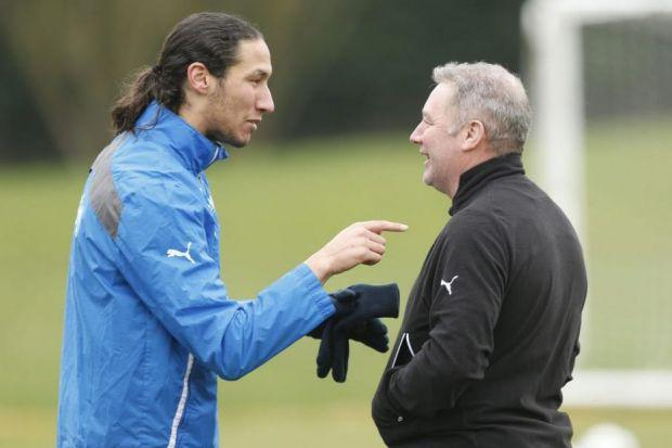 Rangers stopper Bilel Mohsni and manager Ally McCoist share a laugh as they prepare to face Raith Rovers on Sunday