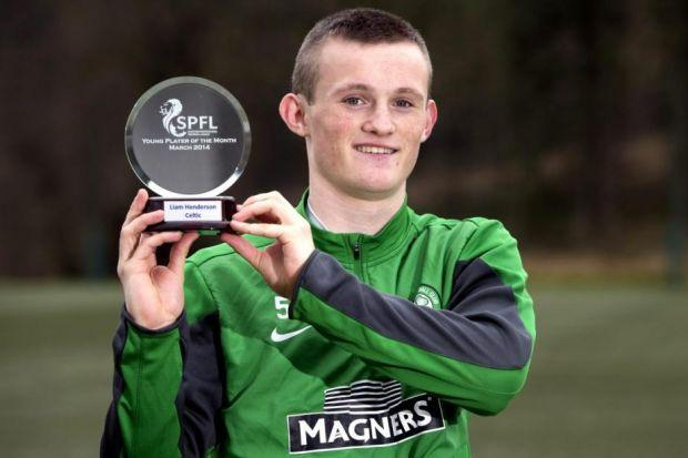Liam Henderson with his Young Player of the Month award