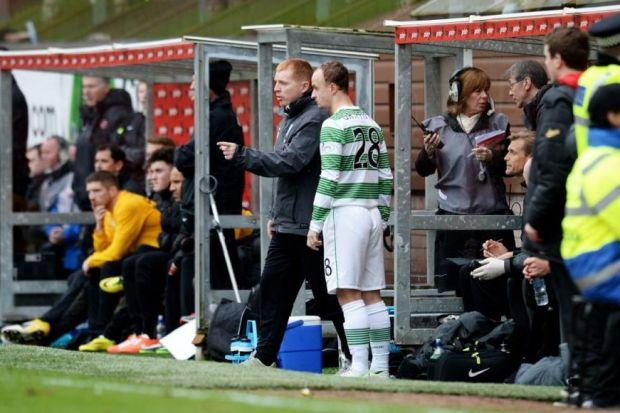 Leigh Griffiths played to the crowd at full-time after coming on as a substitute in the 2-0 win over Dundee United