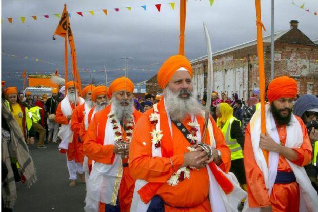 This year's Sikh procession was a sea of colour