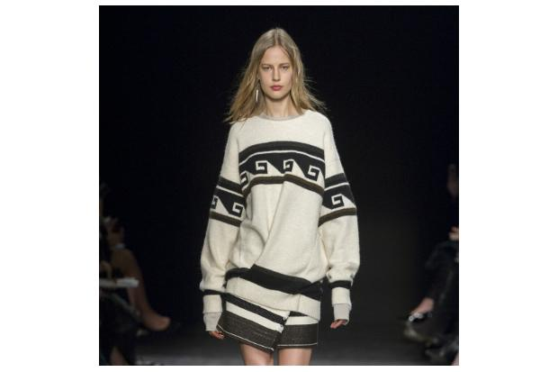 Model is wearing a look from the autumn/winter 2014 Isabel Marant show