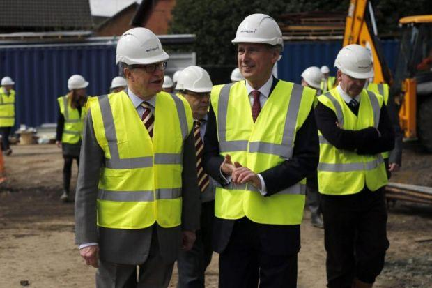 Philip Hammond visited the new veterans' homes in the East End