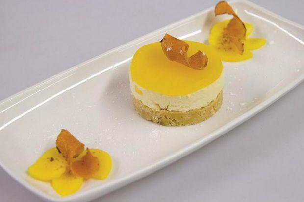 Mango, coconut and cardamon infused cheesecake