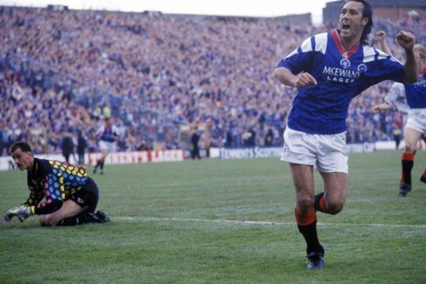 Mark Hateley celebrates after scoring Rangers' first goal in their 2-1 win over Airdrie in the Scottish Cup final at Hampden in 1992