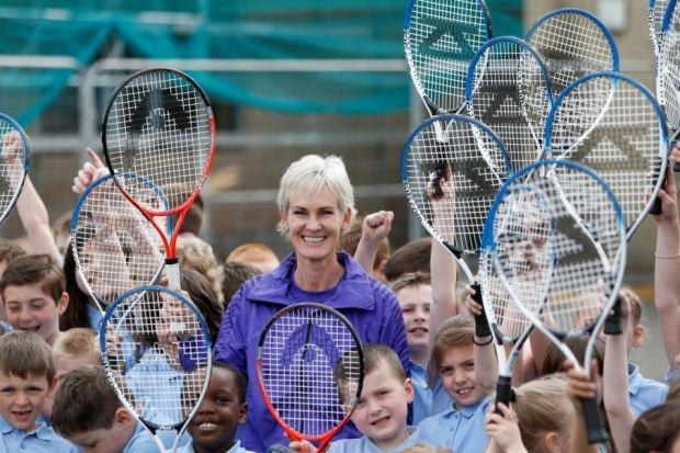These youngsters enjoyed making a racket after the session