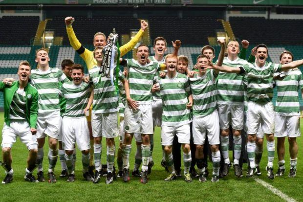 Celtic Under-17s celebrate their 1-0 victory over Rangers to lift the City of Glasgow Cup