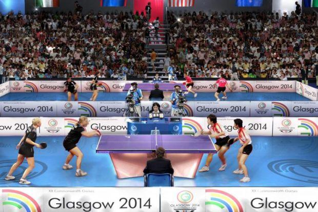 An artist's impression of table tennis at the Scotstoun Sports Campus during Glasgow 2014