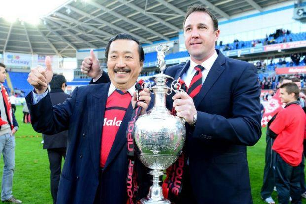 Happier times for Malky Mackay and Vincent Tan