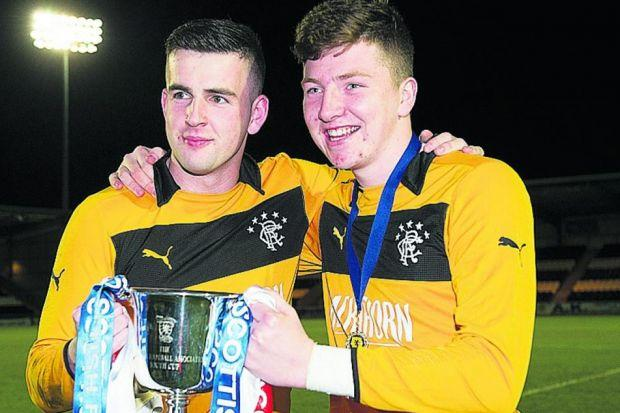 In safe hands...Gers keepers Liam Kelly and Lewis McMinn keep a tight grip on the Youth Cup