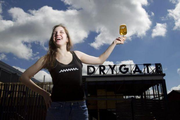 Alessandra Confessore, tries the first of the beers brewed at the new Drygate attraction  Picture: Mark Gibson