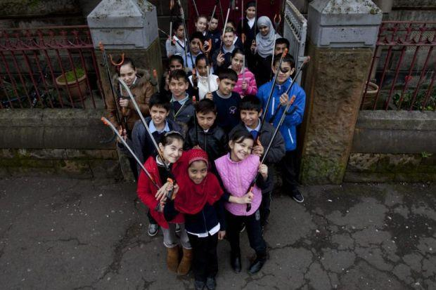 Children from Annette Street Primary joined in with the clean up work in Govanhill