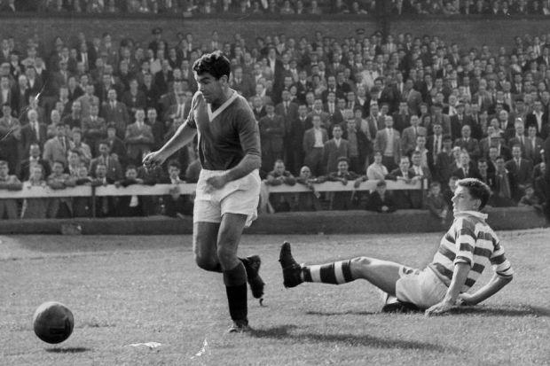 Alex Scott leaves Celtic defender John Kurila stranded during Rangers' 5-1 win at Parkhead in 1960. #SportTimestop50