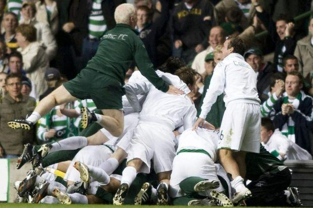 Tommy Burns celebrating with the Celtic players after their win against Spartak Moscow was one of the great pictures in the 50 Most Memorable Matches series