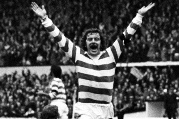Dixie Deans celebrates after scoring against Hibernian during Celtic's 6-3 victory in the League Cup final in 1974. #SportTimestop50