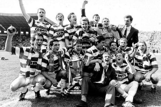Celtic players celebrate winning the double after beating 2-1 Dundee United in the Scottish Cup final in 1988. #SportTimestop50