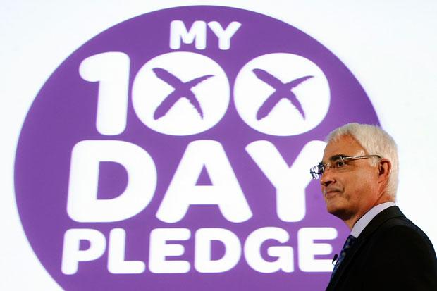 Better Together leader Alistair Darling launches the organisation's 100 Days to Go campaign during an event at Community Central Hall in Glasgow.