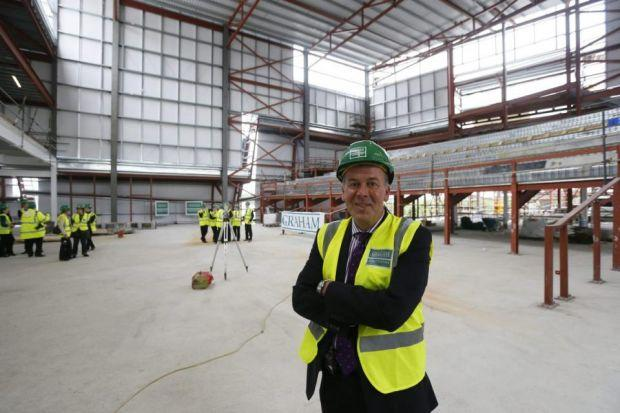 David Pierotti is welcoming the new eateries as the mall's extension takes shape.Picture: Colin Mearns