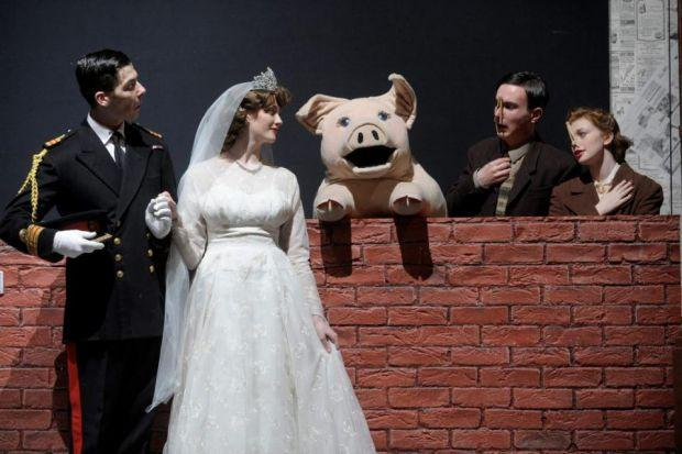 Verity Power as Princess Elizabeth, Christopher Foley as Prince Phillip, Gemma Jones as Joyce Chilvers and Aidan Harkins as Gilbert Chilvers, and left, the puppet 'star' of the show, Betty Blue Eyes. Pictures: Kirsty Anderson