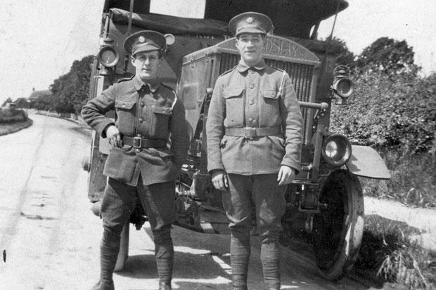 Undated Coventry Transport Museum handout photo of two soldiers (names not known) in front of a three-ton lorry used in the First World War, after an appeal went out for funding to complete the restora