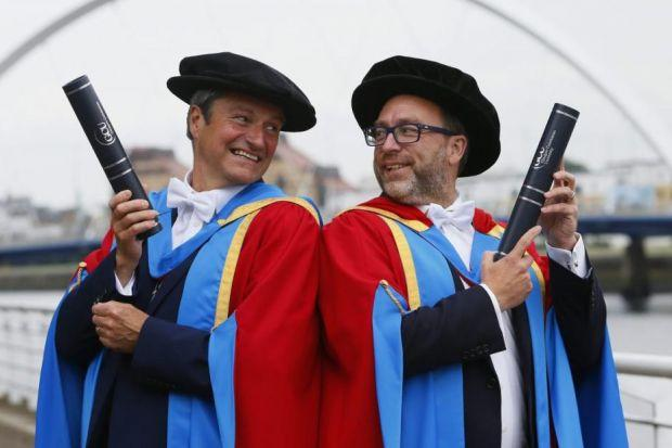 Broadcaster Gavin Esler and Wikipaedia founder Jimmy Wales were among the graduates at GCU