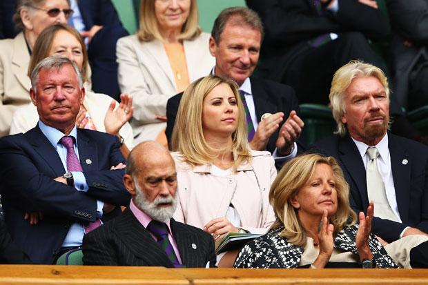 Picture: Getty. Sir Alex Ferguson, Holly Branson and Sir Richard Branson look on from the Royal Box.