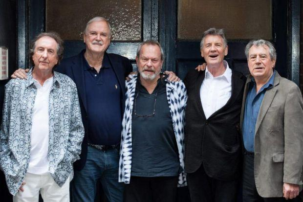 The Monty Python team, from left, Eric Idle, John Cleese, Terry Gilliam, Michael Palin and Terry Jones are ready for their return to the stage