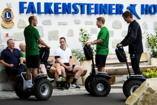 Celtic manager Ronny Deila (right) joins in the fun with his players on segways in Austria