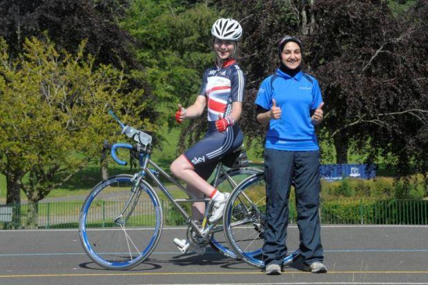 Hannah Dines and Fatemeh Nokhbatolfoghahai, from Sport Scotland Young People's Sport Panel, at Bellahouston Cycle track  Picture: Kirsty Anderson