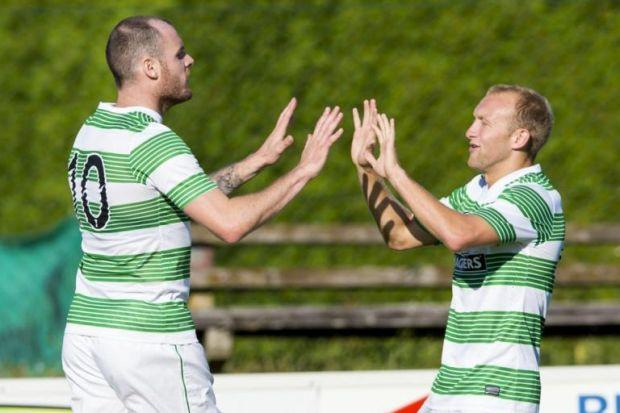 Goalscorer Anthony Stokes, left, celebrates with Dylan McGeouch.