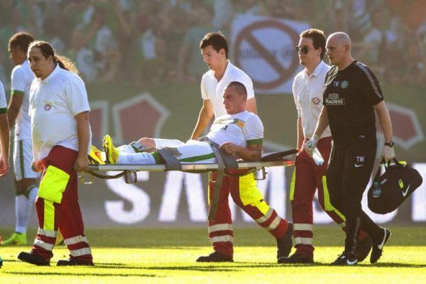 Scott Brown is stretchered off after picking up an early injury against Rapid Vienna