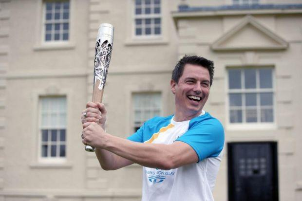 John Barrowman helped carry the baton in East Renfrewshire