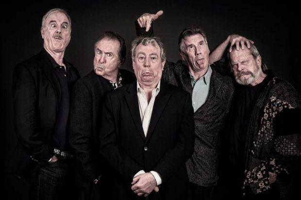 John Cleese, Eric Idle, Terry Jones, Michael Palin and Terry Gilliam get in the mood for more live comedy madness