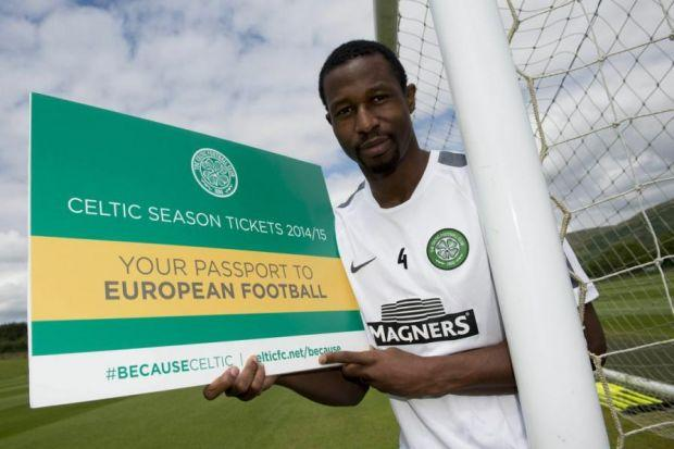 Tickety-boo...Efe Ambrose helps promote Celtic's season ticket offer for the coming campaign