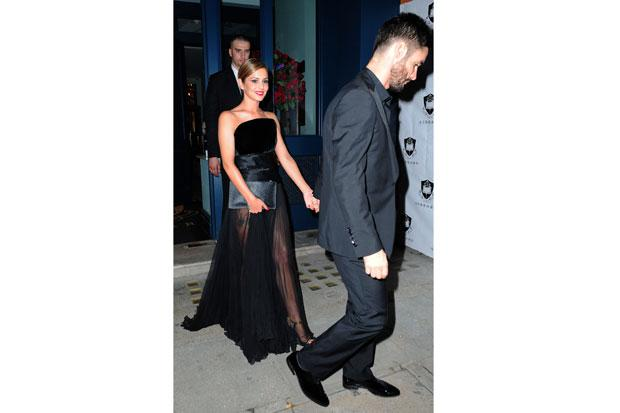 Cheryl Cole and Jean-Bernard Fernandez-Versini leave a party at the Library in London.