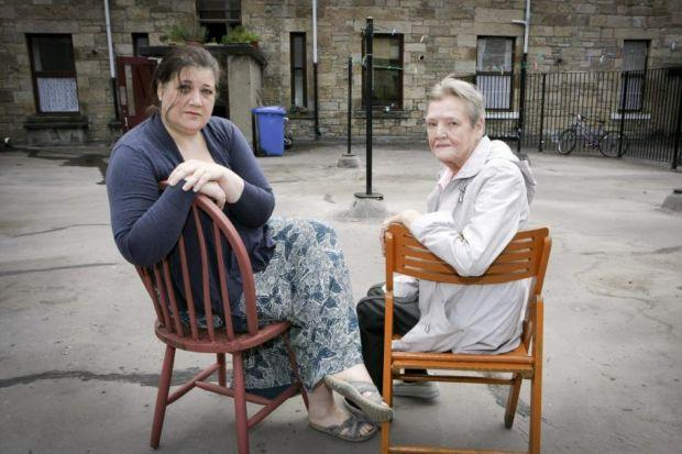Laura Shields with her neighbour Mary Duffey