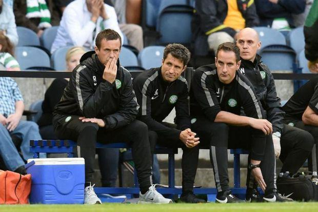 Ronny Deila, assistant John Collins and coach John Kennedy in pensive mood as a Champions League place slips away for Celtic