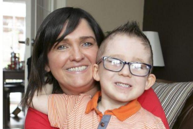 Sandra Feeney and son Harry both suffer the same kidney illness and Sandra has  to carry an emergency treatment kit at all times. Fun-loving Harry knows he has a vital role if she takes illPictures:  Phil Rider