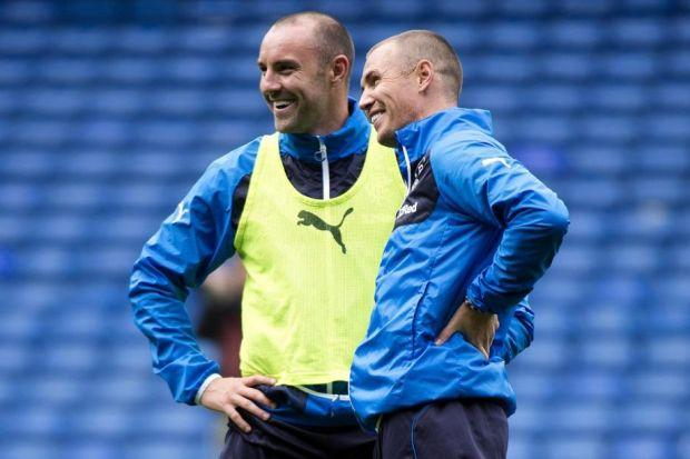 Rangers strikers Kris Boyd (left) and Kenny Miller share a joke at training