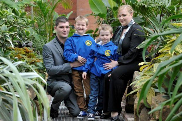 Matthew plays happily with his parents Sylvain and Stacey despite suffering from diabetes