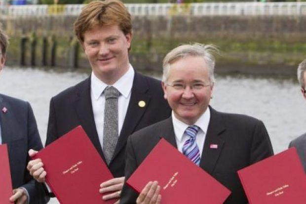 Danny Alexander and Gordon Matheson were among those at the event at the Glasgow Science Centre to sign the City Deal