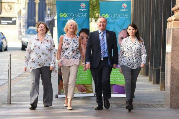 City Council leader Gordon Matheson joins some of the participants of Glasgow Life's new Good Move programme