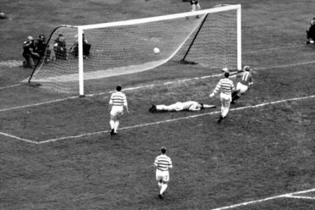 Davie Wilson scores for Rangers during their 3-0 Scottish Cup Final replay victory over Celtic in 1963