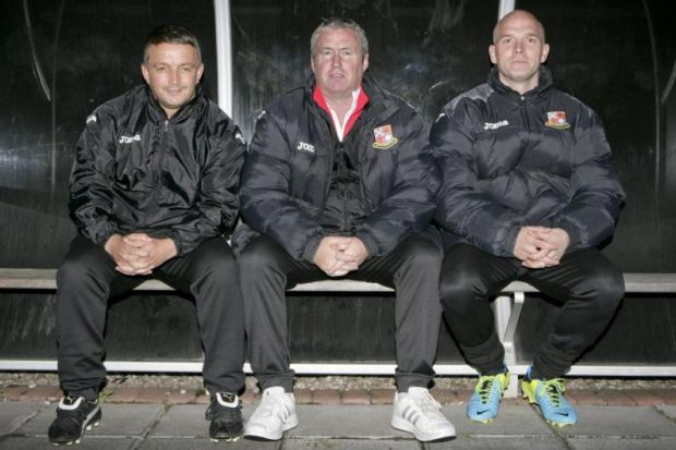 Beith Juniors backroom staff, from left, coach Stevie Convery, manager Johnny Millar and coach Derek Rhoddan at Bellsdale Park. Picture: Phil Rider