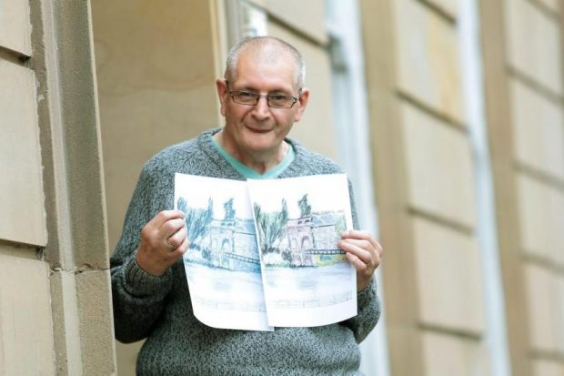 Ian Hastings, with the work which will be used on Building Bridges - Supporting Care paperwork.     Picture: Mark Mainz