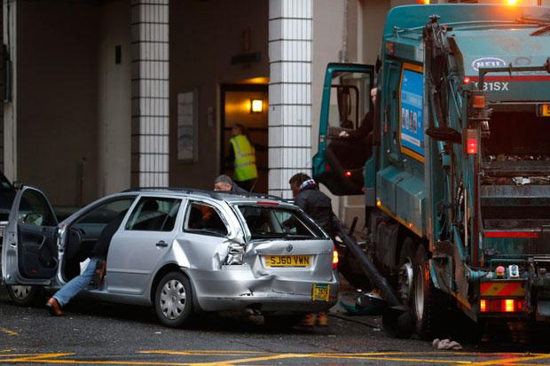 Glasgow bin lorry crash driver and girl, 14, leaves hospital