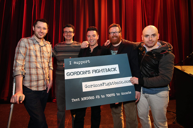 Frankie Boyle, Des Clarke and Burnistoun stars help MND sufferer smash fundraising target