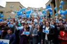 Yes supporters at a rally on Buchanan Street ahead of the referendum on September 18 2014.