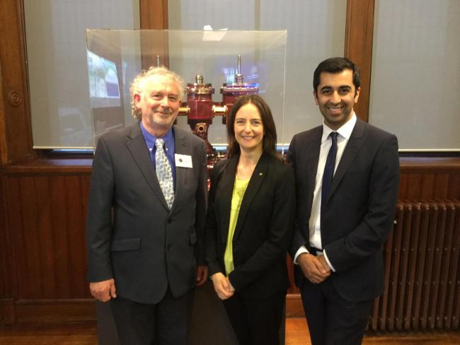 Pat Cassidy, Carol Monaghan MP and Humza Yousaf